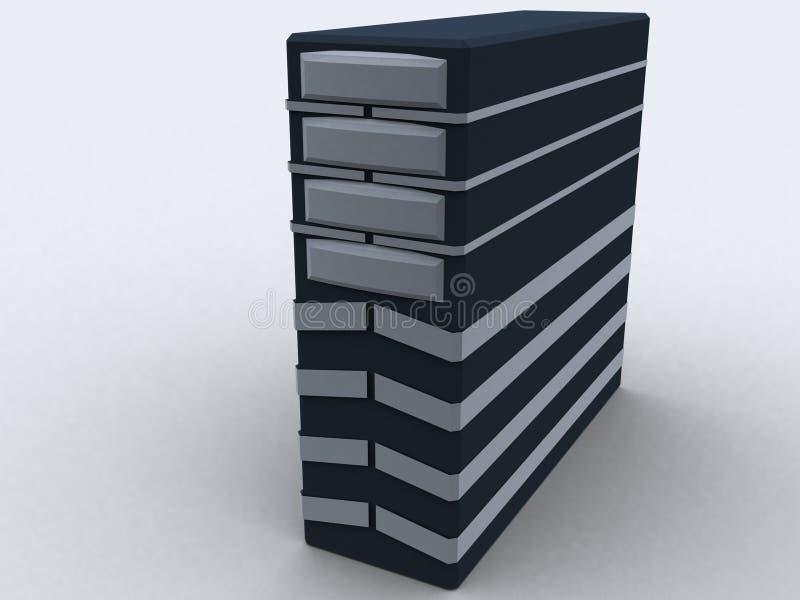 PC-Kontrollturm im Schwarzen lizenzfreie abbildung
