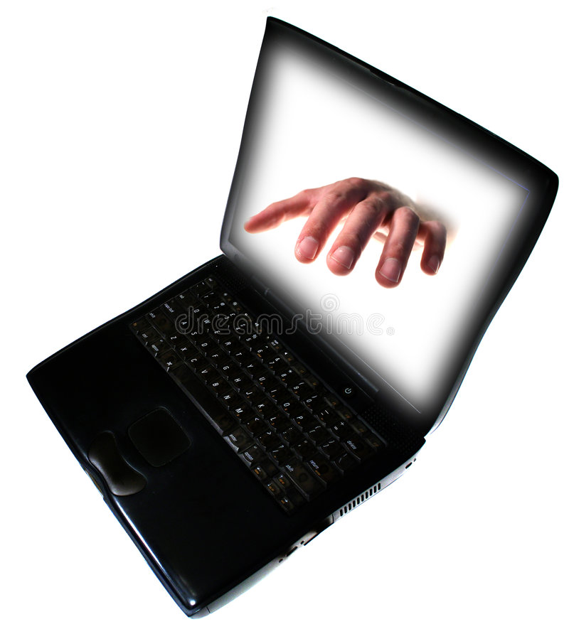 Pc laptop internet crime. Pc or laptop computer with grabbing hand coming out of screen isolated on white. illustrate computer trouble, virus, spam, hacking or stock images