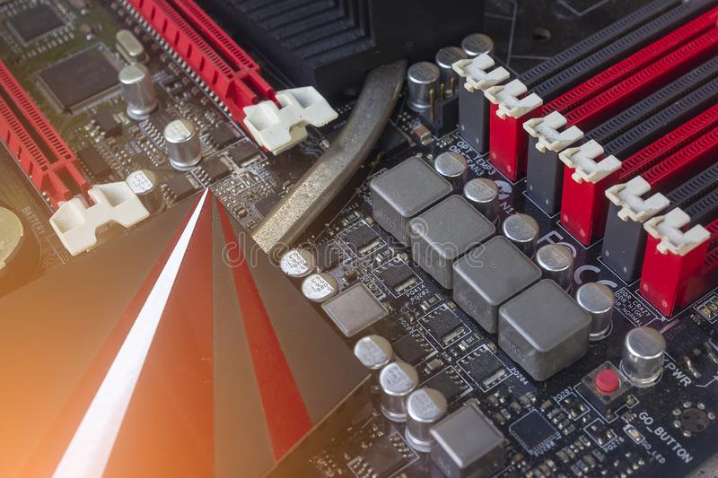 PC Mainboard memory slots and components. Close up with selective focus stock photos