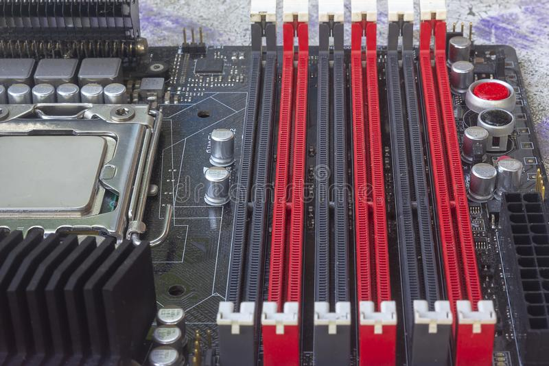 PC Mainboard memory slots and components. Close up with selective focus royalty free stock photos