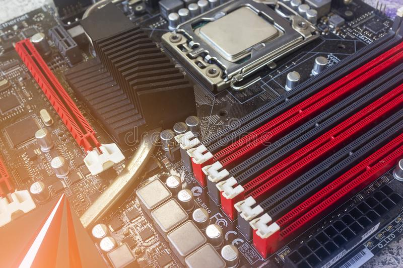 PC Mainboard memory slots and components. Close up with selective focus stock images