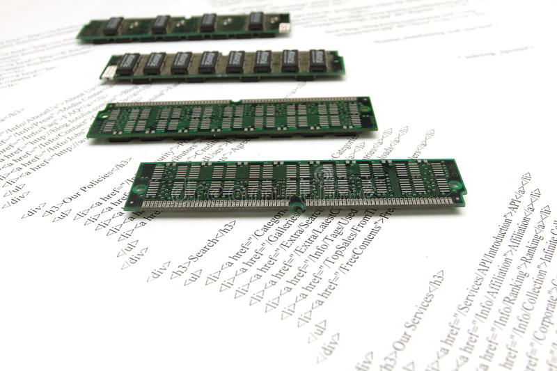 Pc memory on background of page with html stock photography