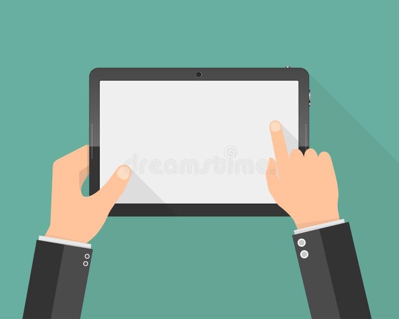PC moderno da tabuleta com a tela vazia nas mãos Ilustração do vetor ilustração royalty free