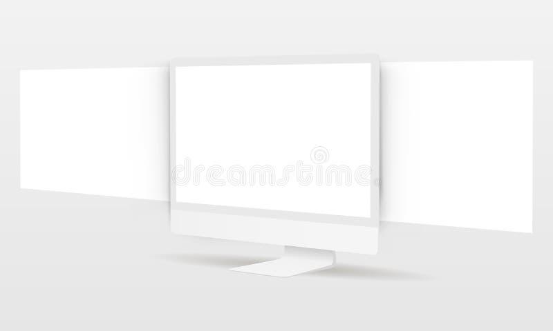 PC-Monitor mit leeren Rahmenwebseiten vektor abbildung