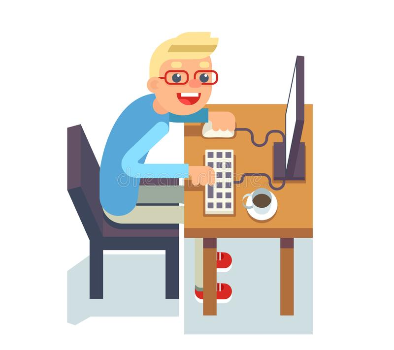 PC monitor programmer table chair guy isolated icon flat design character vector illustration stock illustration