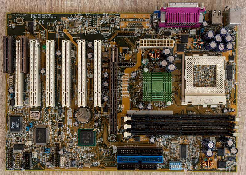 PC motherboard close-up stock photo
