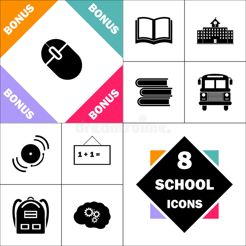 PC mouse computer symbol. PC mouse Icon and Set Perfect Back to School pictogram. Contains such Icons as Schoolbook, School Building, School Bus, Textbooks, Bell vector illustration