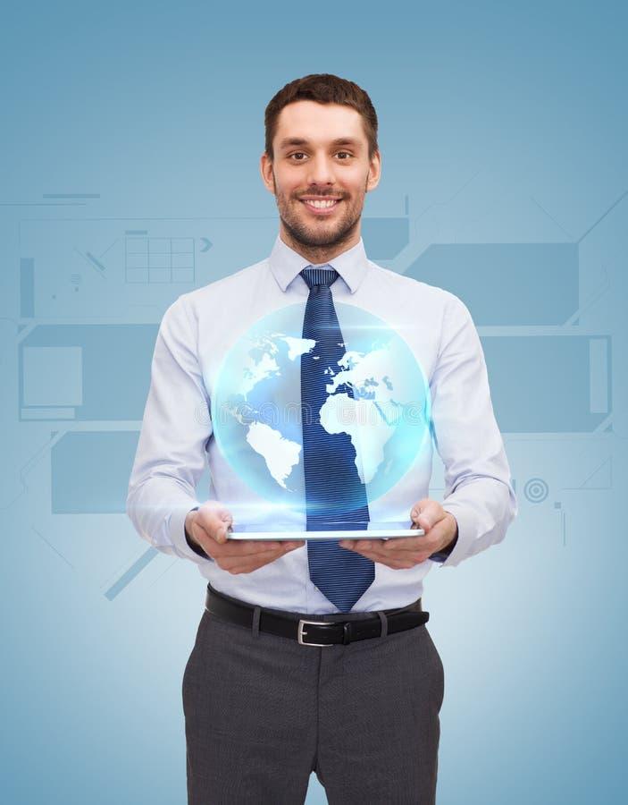PC novo de With Tablet da mulher de negócios imagens de stock