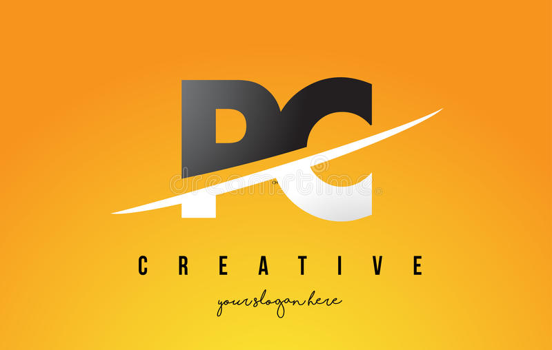 PC P C Letter Modern Logo Design with Yellow Background and Swoosh. PC P C Letter Modern Logo Design with Swoosh Cutting the Middle Letters and Yellow royalty free illustration