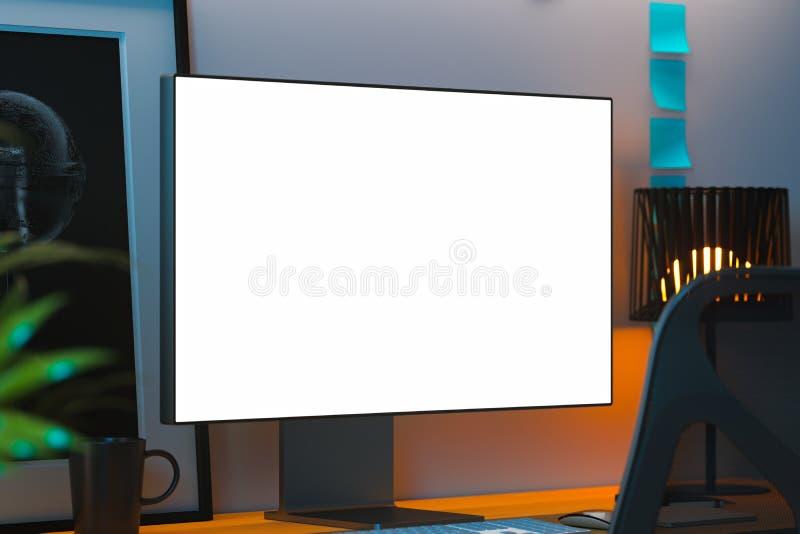 PC réaliste noir avec le grand moniteur blanc vide, le cadre de photo et les autocollants vides sur le bureau rendu 3d illustration de vecteur