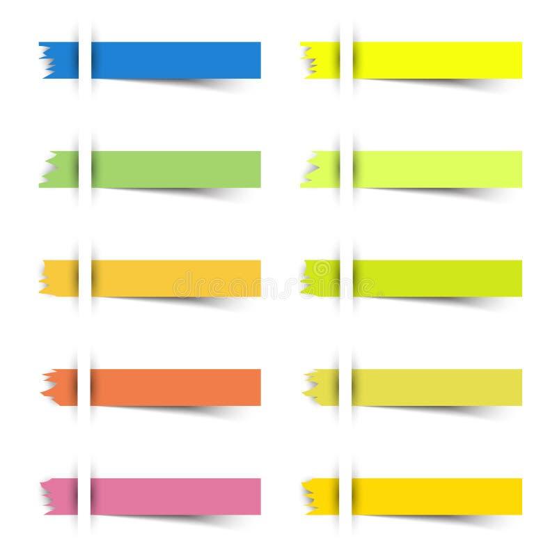41 PC rasgadas notas pegajosas del parte movible 9 stock de ilustración