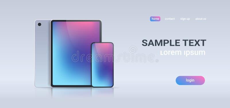 PC realista de la tableta y smartphone móvil con la pantalla colorida en el concepto gris de la tecnología digital del fondo hori stock de ilustración