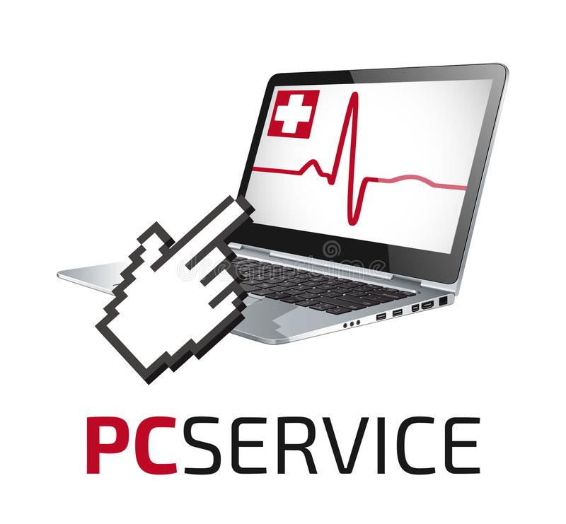 PC repair service - laptop doctor concept. Business idea royalty free illustration