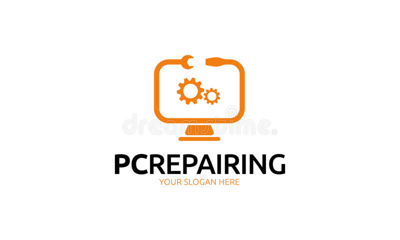 Pc Repairing Logo. Minimalist and modern computer repair vector logo template. Simple work and adjusted to suit your needs stock illustration