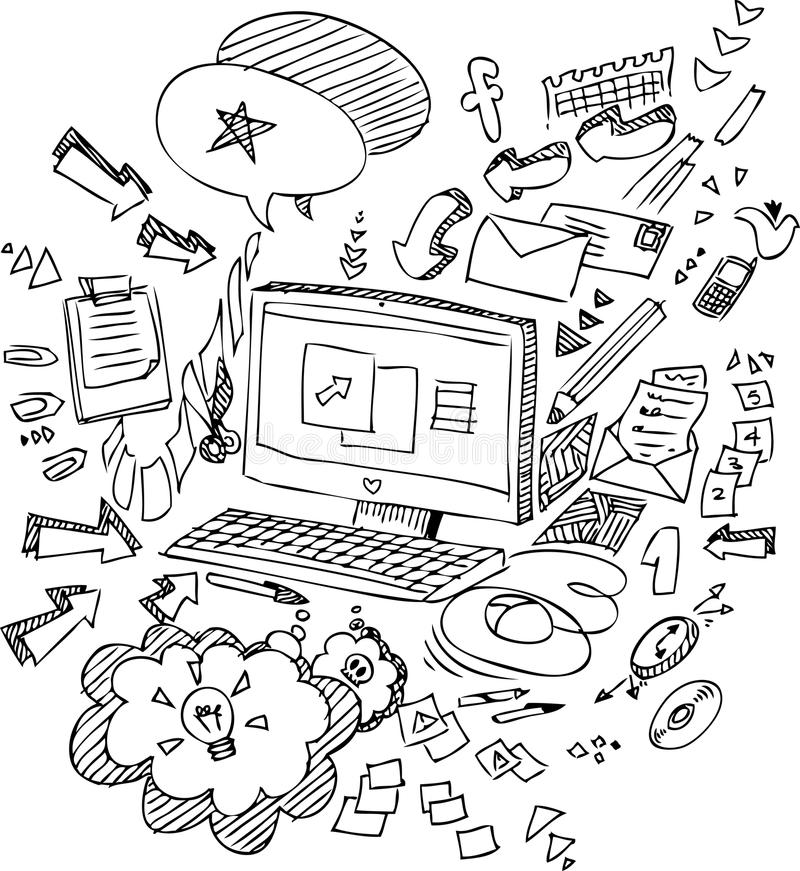 PC sketchy doodles vector royalty free stock image