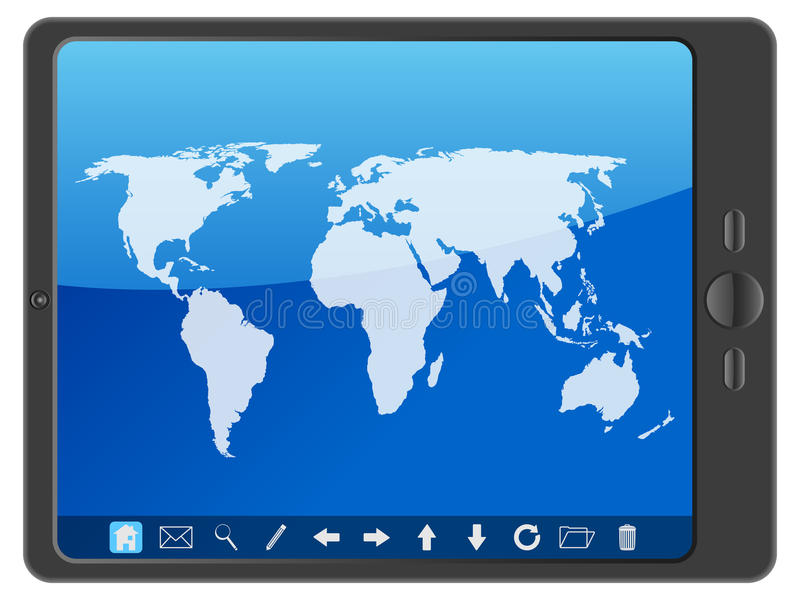 Download PC tablet with world map stock vector. Illustration of africa - 26012963