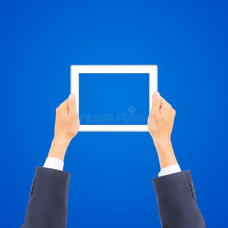 PC van de de holdingstablet van de bedrijfsmensenhand royalty-vrije stock foto's