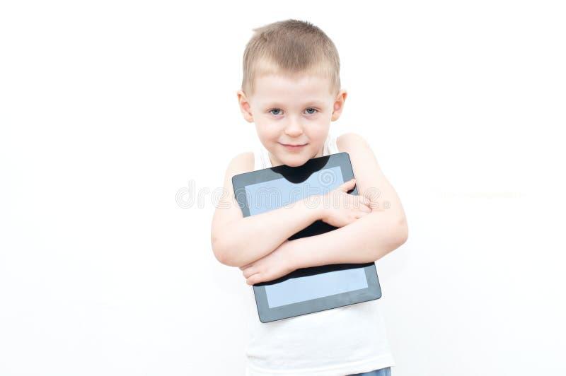 PC van de de holdingstablet van het kind royalty-vrije stock foto's