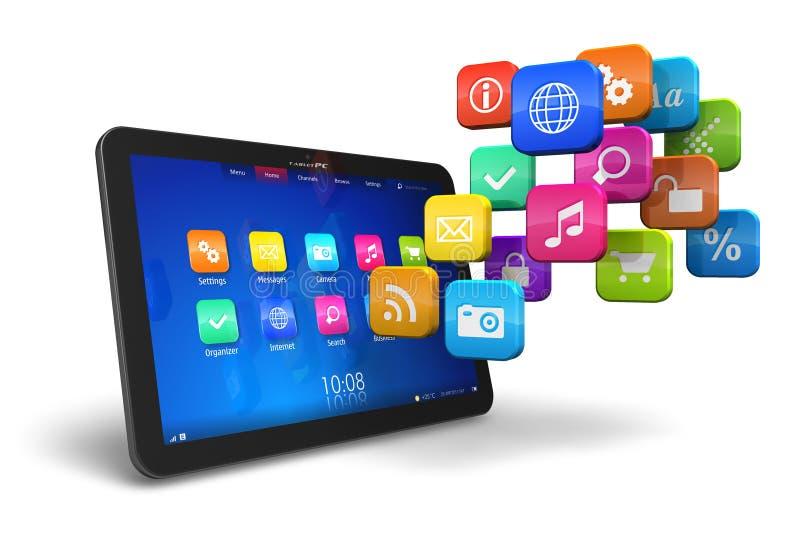 PC van de tablet met wolk van toepassingspictogrammen royalty-vrije illustratie