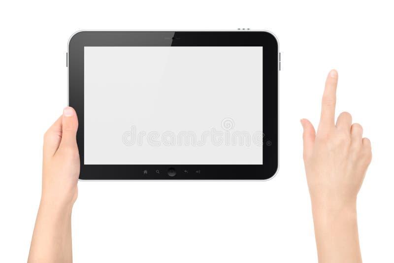PC van de Tablet van de holding met het Raken van Geïsoleerdea Hand royalty-vrije stock fotografie