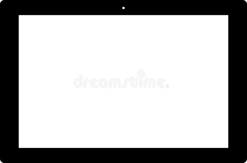 PC van het tabletpictogram op witte vector wordt geïsoleerd die Als achtergrond vector illustratie