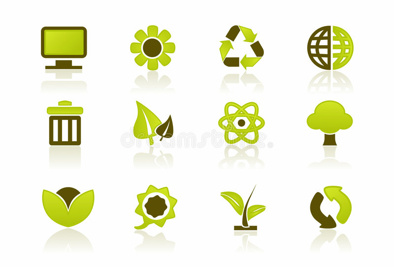PC verde/ÉL conjunto del icono libre illustration