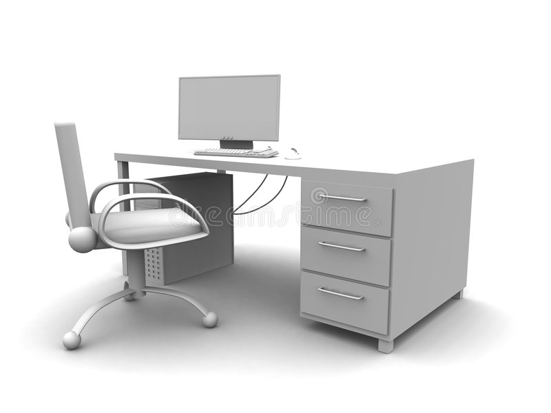 PC Workplace. 3D rendered workplace setup with PC vector illustration