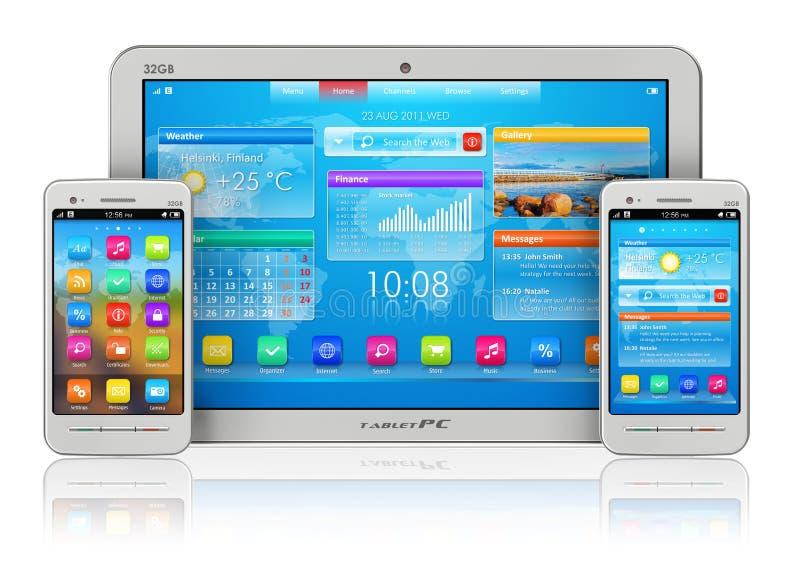 PC y smartphones de la tablilla ilustración del vector