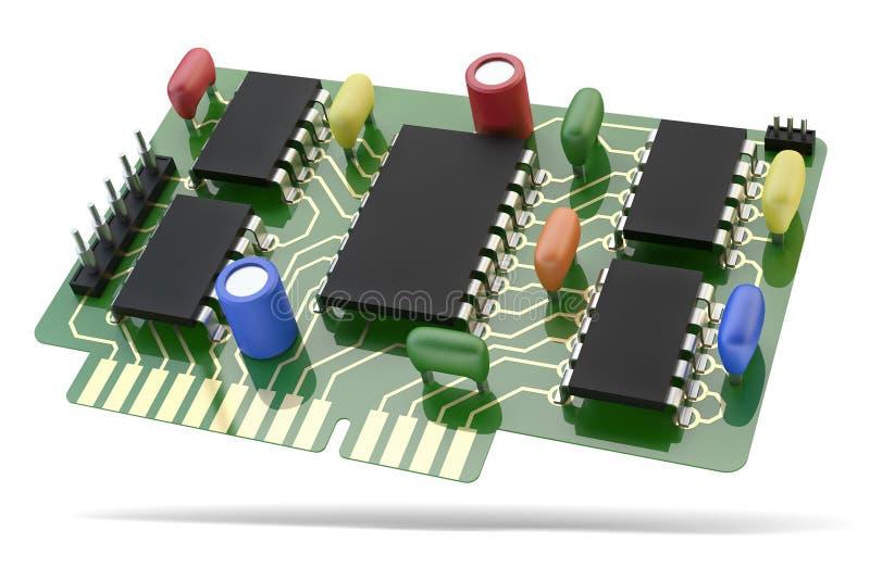 PCB платы с печатным монтажом с микросхемой и электронными блоками иллюстрация штока