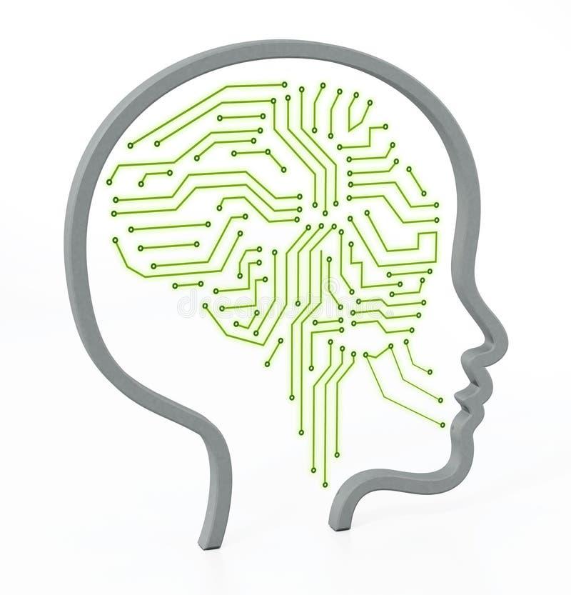 PCB brain inside female head icon. 3D illustration stock illustration