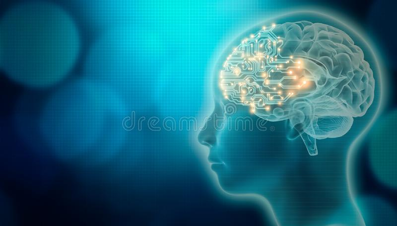 Pcb-hjärna med 3d att framföra profil för mänskligt huvud Konstgjord intelligens eller AI-begrepp Futuristisk eller avancerad vet royaltyfri illustrationer