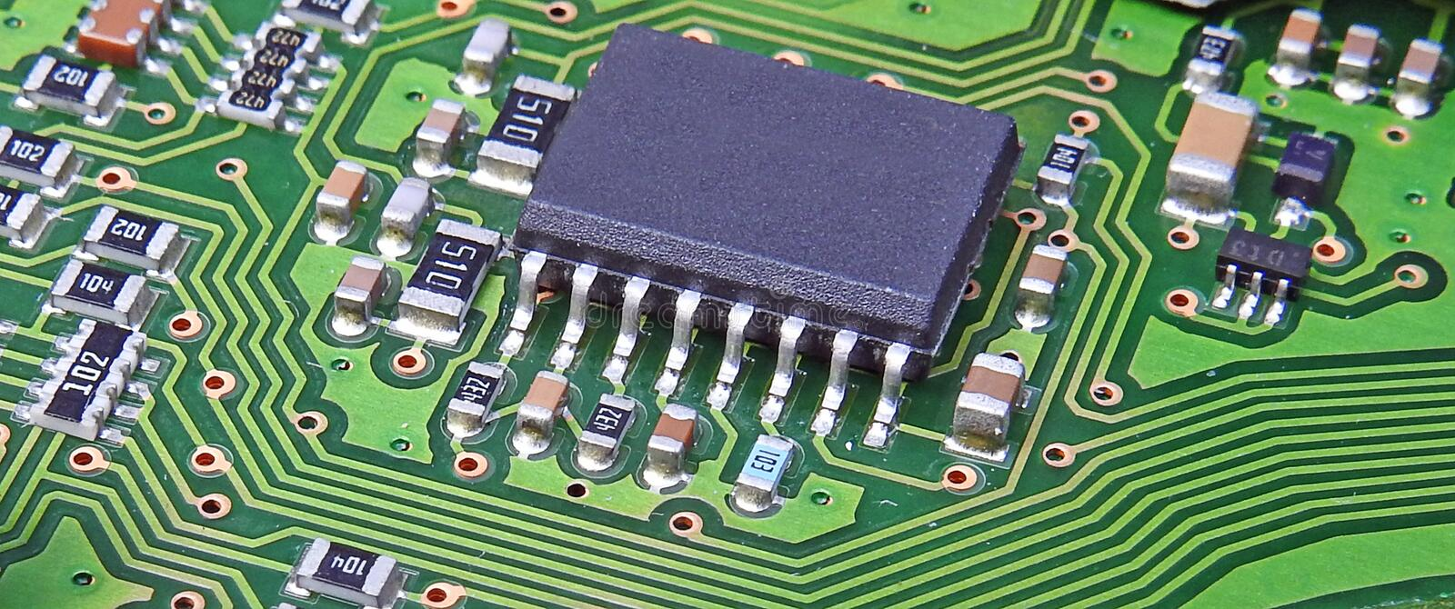 Pcb printed circuit board comms unit control panel switches points microchip electronic royalty free stock photos