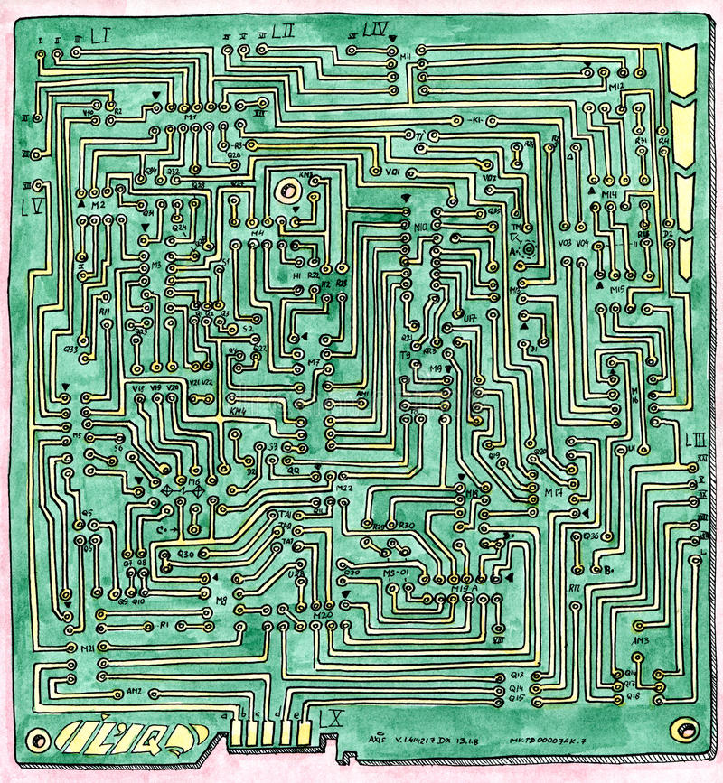 PCB wiring scheme royalty free stock photos