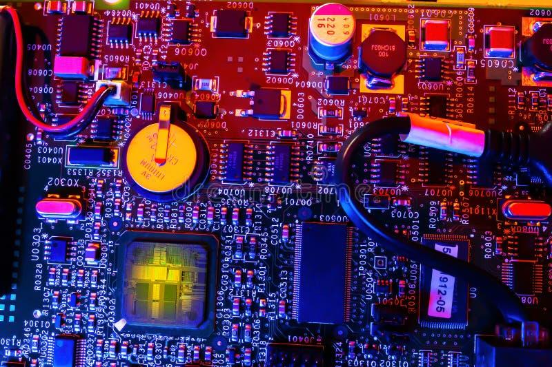 PCB witn jednostki centralnej sedno Koloru oświetlenie obraz stock
