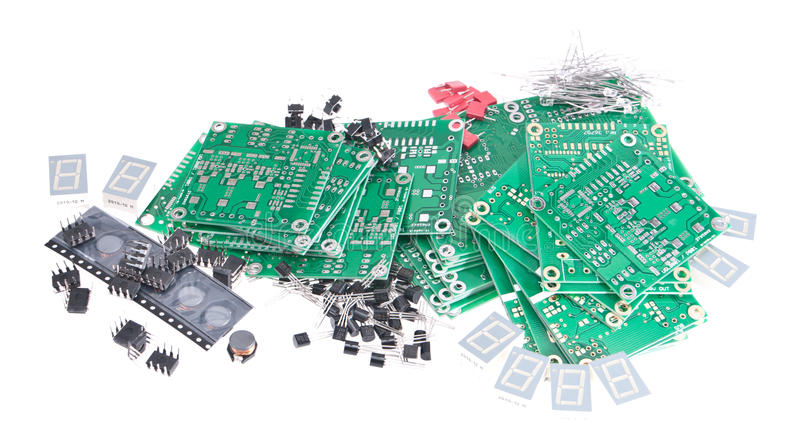 Download PCBs With Different Electronic Parts Royalty Free Stock Photos - Image: 24499918