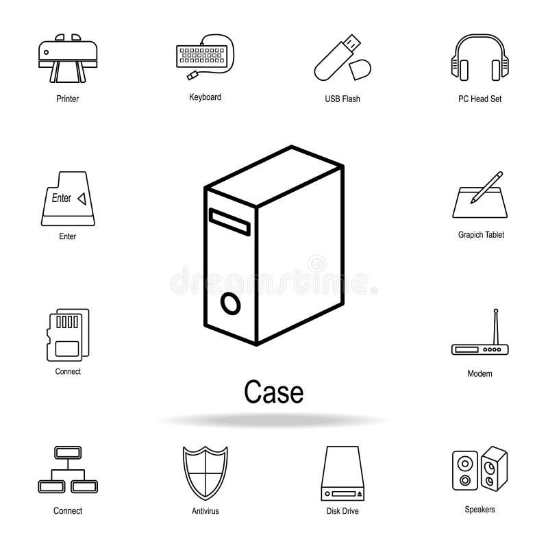 PCfallsymbol Detaljerad uppsättning av datordelsymboler Högvärdig grafisk design En av samlingssymbolerna för websites, rengöring stock illustrationer