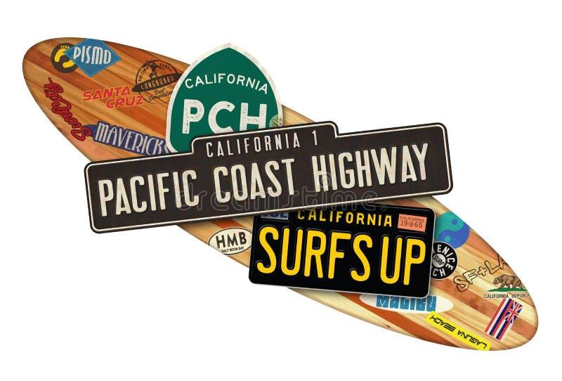 PCH California Surfboard Sign. PCH Californa Surfboard Sign Longboard Wood Hawaii Vintage Retro travel surfing cities Malibu Mavericks HMB Half Moon Bay vector illustration