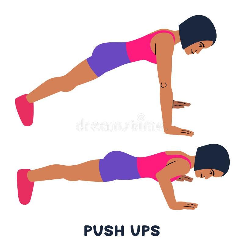 Pcha podnosi Sporta exersice Sylwetki robi ćwiczeniu kobieta Trening, trenuje ilustracja wektor