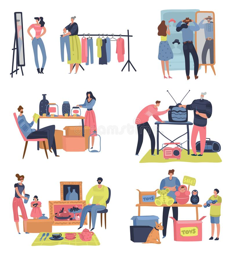 Pchli targ Ludzie robi zakupy sprzedawania drugi ręki retro towarów zamiany spotkania odzieżowego bazar Pchła rynku wektoru pojęc ilustracji