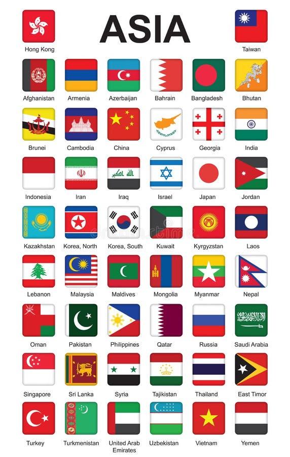 Pchnięcia guziki z flaga Azja ilustracja wektor