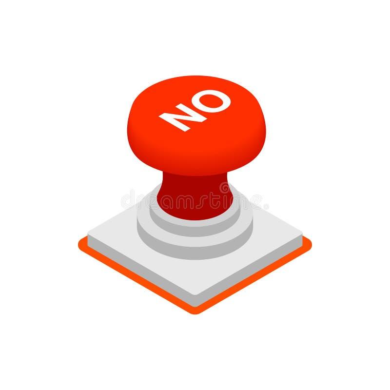 Pchnięcie guzik ŻADNY ikona, isometric 3d styl ilustracji