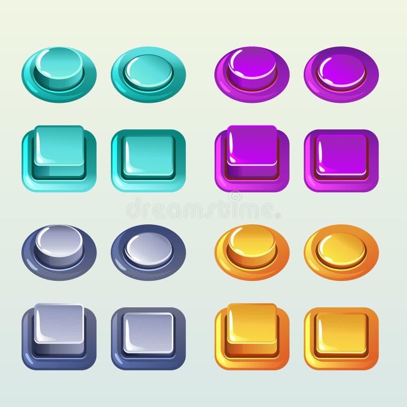 Pchnięcie guziki Dla gry Lub sieć projekta elementu, Set2 royalty ilustracja