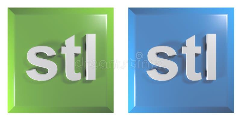 Pchnięcie guziki dla STL kartotek zieleń i błękitny, kwadrat - 3D renderingu ilustracja ilustracja wektor