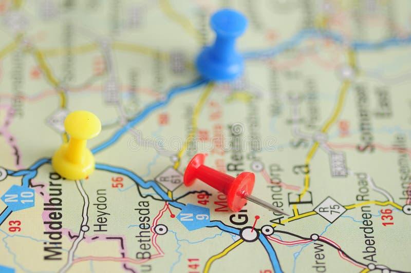 Pchnięcie szpilki na mapie zdjęcia royalty free
