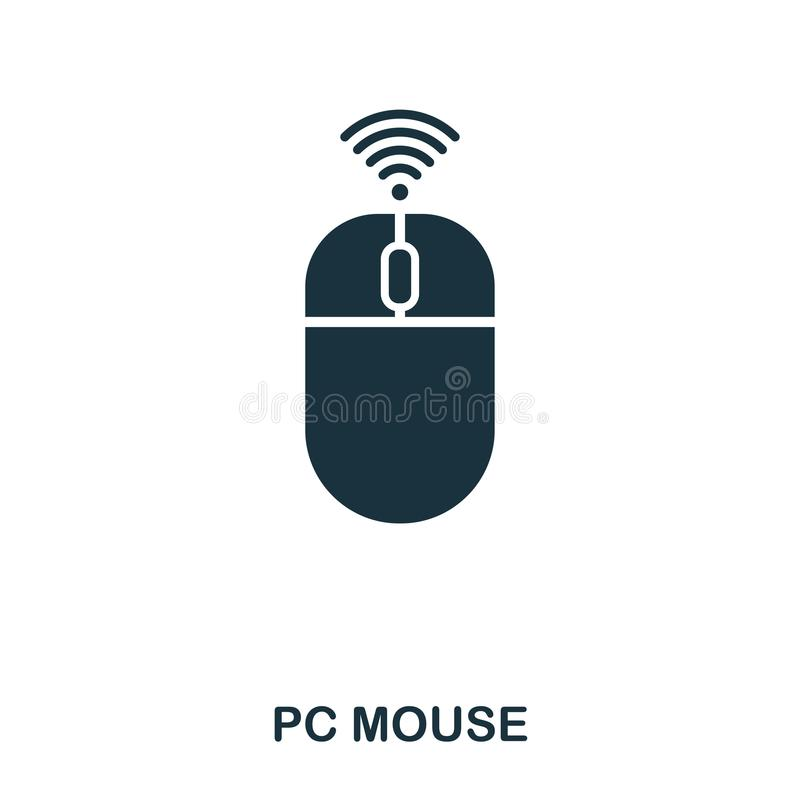 PCmussymbol Linje stilsymbolsdesign Ui Illustration av PCmussymbolen pictogram som isoleras på vit Ordna till för att använda in stock illustrationer