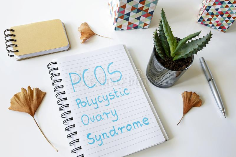 PCOS Polycystic ovary syndrome written in a notebook. On white table royalty free stock photography
