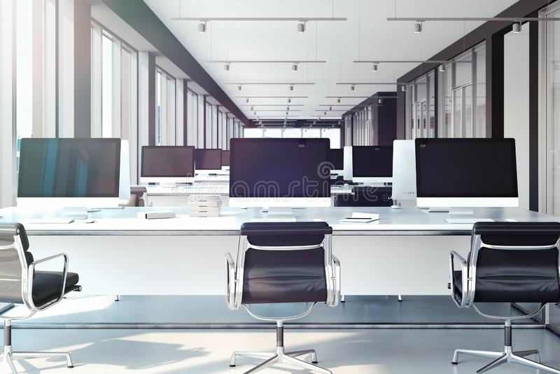 PCs avec de grands moniteurs vides sur des tables espace de travail ouvert au bureau rendu 3d illustration de vecteur