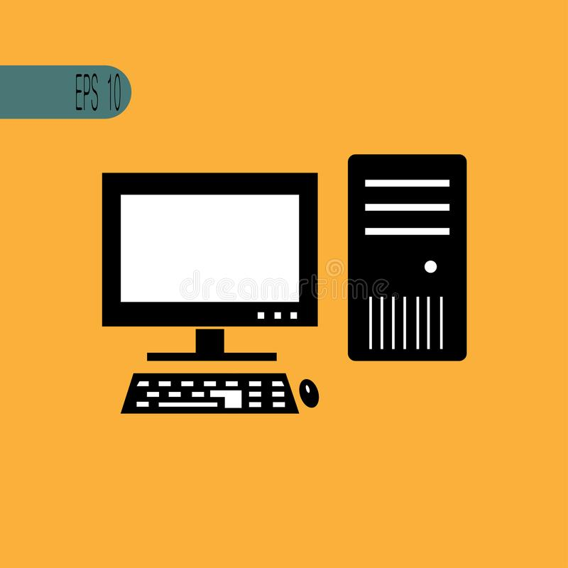 PCsymbolsmus och tangentbord - vektorillustration royaltyfri illustrationer