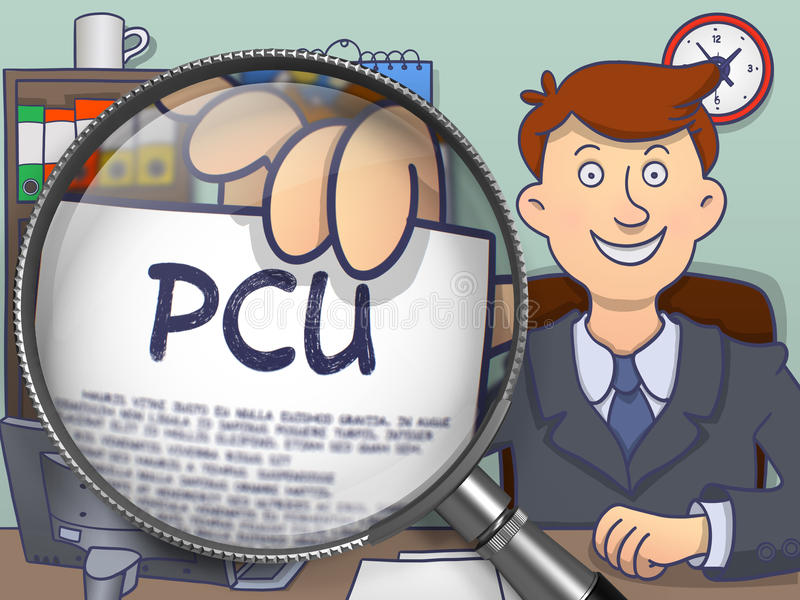 PCU通过放大镜 乱画设计 向量例证