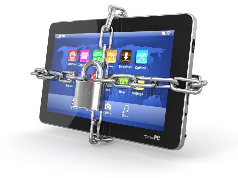 PCveiligheid van de tablet. Ketting met slot op computer. vector illustratie